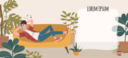 A man in headphones lies on a sofa and listens to music. Banner with place for text.