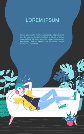 A man in headphones lies on a sofa and listens to music. Relaxed man with eyes closed enjoying music. Banner with place for text. Vector cartoon illustration.