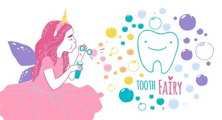 Cute little happy fairy girl with tooth. Hand drawn vector cartoon doodle illustration 向量圖像