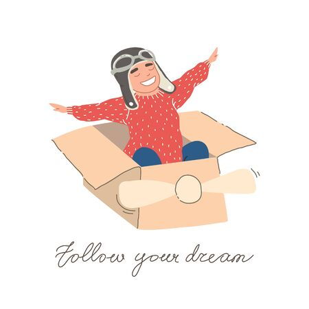 Little dreamer boy playing with a cardboard airplane. Childhood. Fantasy, imagination. Kids playing with toys. pilot school, innovation. Vector illustration