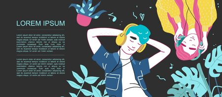 Lovers boy and girl listen to music on headphones