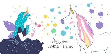 girl dressed as fairies and cute unicorn