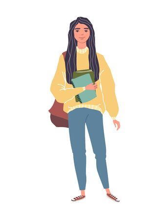 Young women in casual clothes with backbackpacks and books.