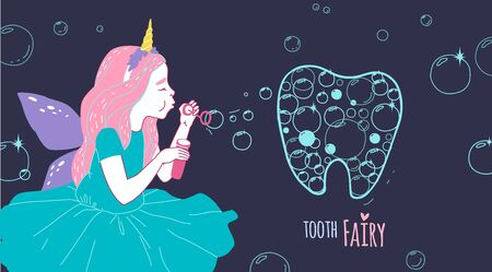 Smiling tooth fairy. Cute little happy fairy girl with tooth. Hand drawn vector cartoon doodle illustration 向量圖像