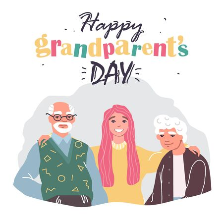 greeting card happy grandparents day with family