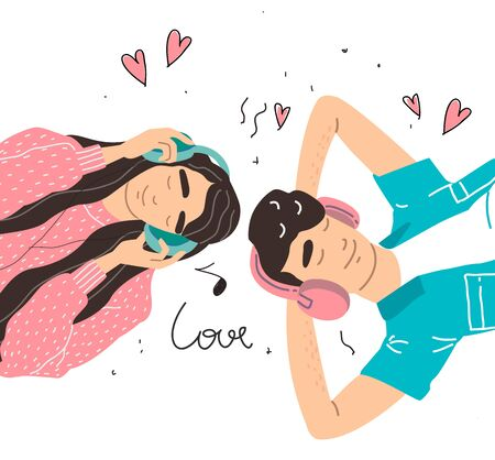 Lovers boy and girl listen to music on headphones. Couple in a relationship in love. Banner with place for text in modern style