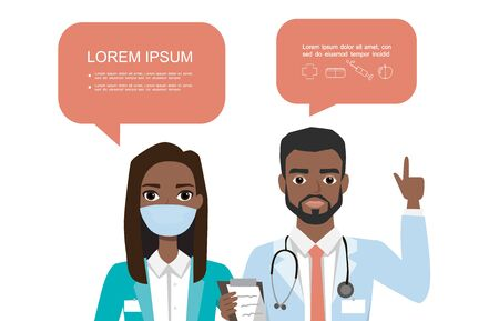 black african american couple of doctors. Hospital medical team concept. People character set in various poses with speach bubbles Illustration