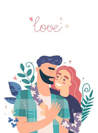 Lovers man and woman hug. Happy family concept. Couple in a relationship in love. Banner with place for text in modern style