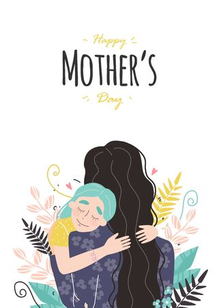 Mothers day greeting card. Mom and girl are smiling and hugging. Family holiday and togetherness. Vector eps 10 Ilustracja