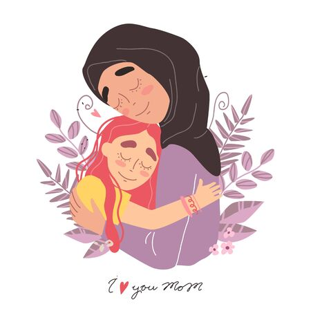 Arabic happy family. Mothers day greeting card. Mom and girl are smiling and hugging. Family holiday and togetherness. Vector eps 10
