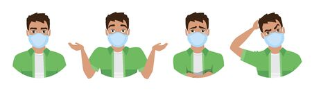 Men wearing medical mask to prevent disease, flu, air pollution, contaminated air, world pollution. Set of different emotions. Vector illustration in a flat style