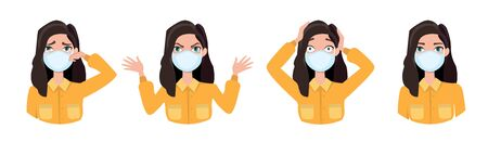 Women wearing medical mask to prevent disease, flu, air pollution, contaminated air, world pollution. Set of different emotions. Vector illustration in a flat style Stock Vector - 143138887