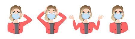 Women wearing medical mask to prevent disease, flu, air pollution, contaminated air, world pollution. Set of different emotions. Vector illustration in a flat style Stock Vector - 143151744