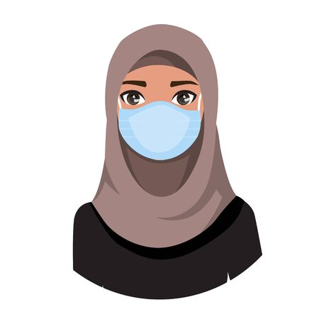 Arab women wearing medical mask to prevent disease, flu, air pollution, contaminated air, world pollution. Vector illustration in a flat style