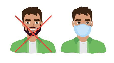 Men wearing medical mask to prevent disease, flu, air pollution, contaminated air, world pollution.