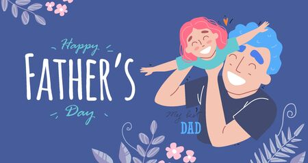 Fathers day. Daughter plays with dad and smiling. Family holiday and togetherness. Banque d'images - 144806959