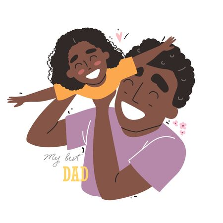 Fathers day. Black african american daughter plays with dad and smiling. Family holiday and togetherness. Vecteurs