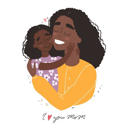 Mothers day greeting card. Black african american mother hugs baby. Family holiday and togetherness. Vector eps 10 Banque d'images - 144911916