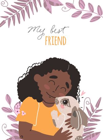 Lovely friendship with pet. Little Black african american cute girl hugs rabbit. Banque d'images - 145278184