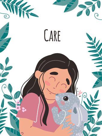 Lovely friendship with pet. Little cute girl hugs rabbit. Illustration