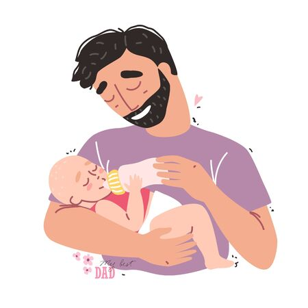 Caring father feeding his baby from a bottle. Healthy baby food and infant formula, milk.
