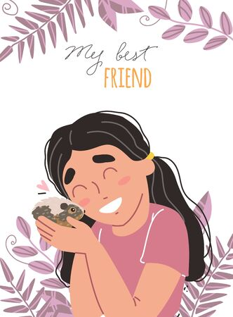 Lovely friendship with pet. Little cute girl hugs hamster. Illustration