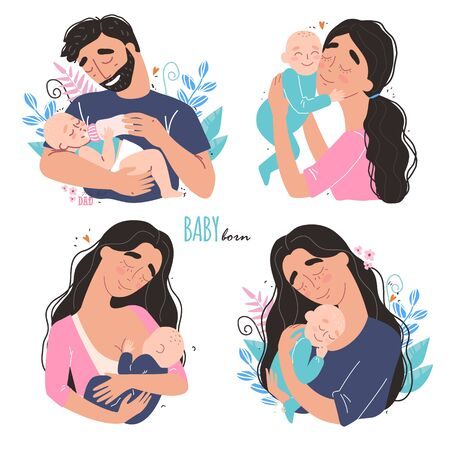 happy parents hug their newborn baby. Set of cute clipart Banque d'images - 146035430