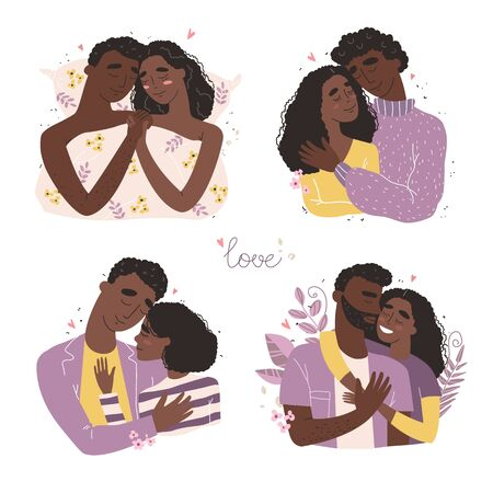 Lovers black african american man and woman hug. Happy family concept. Couple in a relationship in love.