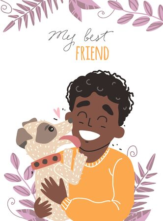 Two best friends - Black african american boy and his dog. A child hugs his dog with love