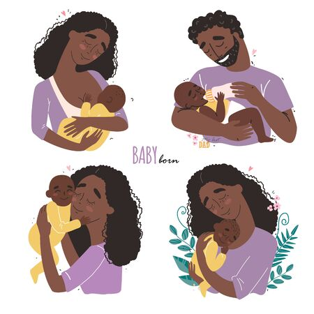 happy Black african american parents hug their newborn baby. Set of cute clipart