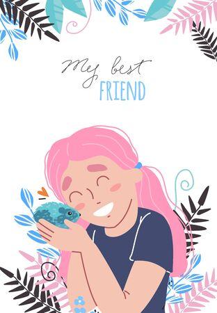 Lovely friendship with pet. Little cute girl hugs hamster. Иллюстрация