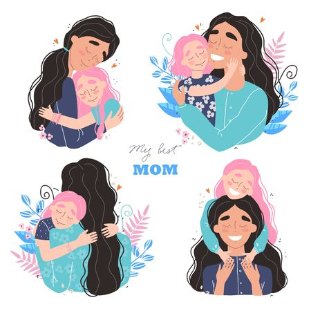 Beautiful young woman and her charming little daughter. Girl hugs mom and smiles. Vector illustration in trendy style. Set of illustrations for mothers day