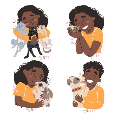 Cute children hold their pets in the arms. Set of clipart