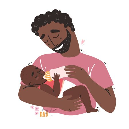 Caring black african american father feeding his baby from a bottle. Healthy baby food and infant formula, milk.