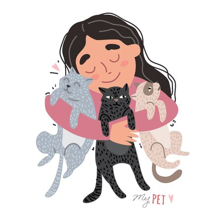 Girl hugging their pets. A girl with cats in her arms Illustration