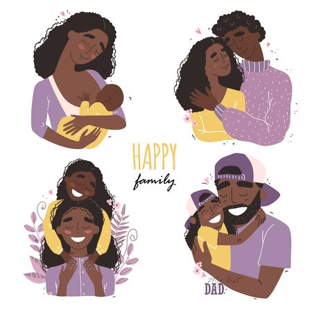 set clip art of a happy smiling black african american families isolated on white background