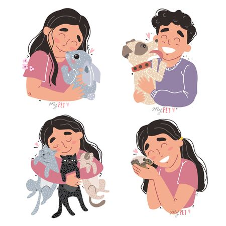 Cute children hold their pets in the arms Illustration