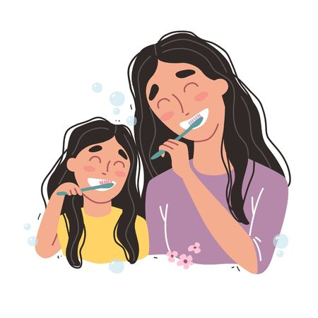 Mother and Daughter Brushing Their Teeth. happy family and health.