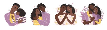Lovers black african american man and woman hug. Happy family concept.