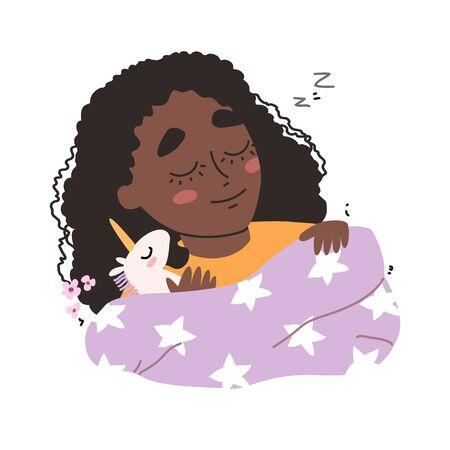 little cute black african american girl sleeping in her bed