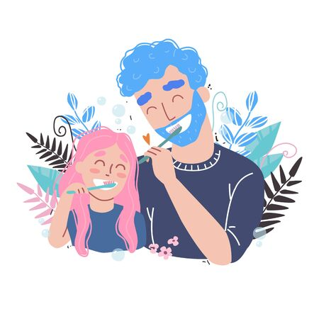 Vector illustration of father and Daughter Brushing Their Teeth. happy family and health.