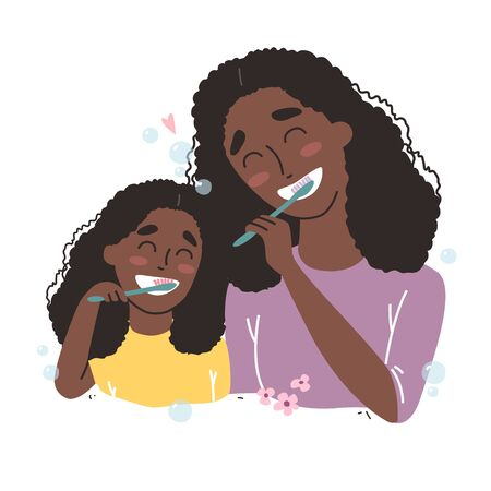 Mother and Daughter Brushing Their Teeth. happy Black african american family and health.
