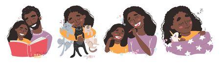 Vector bundle of happy loving black african american family scenes.