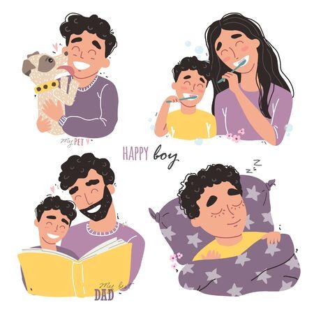 Vector bundle of happy loving family scenes.