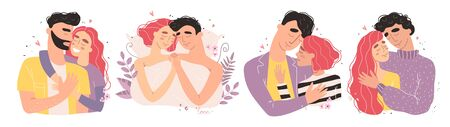 Lovers man and woman hug. Happy family concept. Illustration