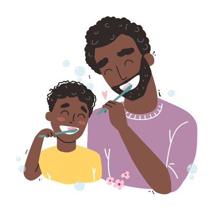 Father and son Brushing Their Teeth. happy Black african american family and health.