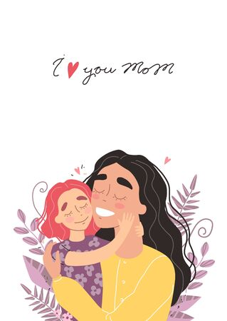 Beautiful young woman and her charming little daughter. Girl hugs mom and smiles. Vector illustration in trendy style Illustration