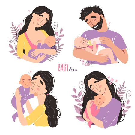 happy parents hug their newborn baby. Set of cute clipart