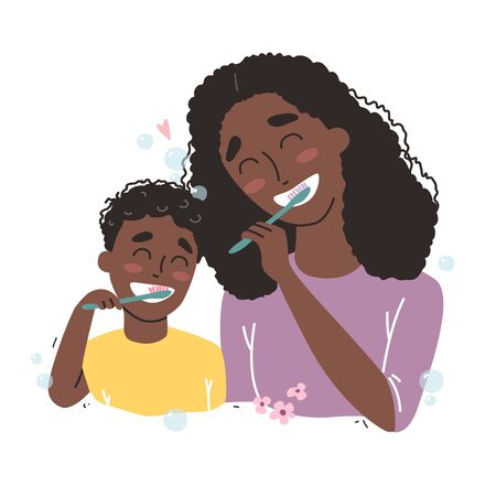 Vector illustration of mother and son Brushing Their Teeth. happy Black african american family and health.