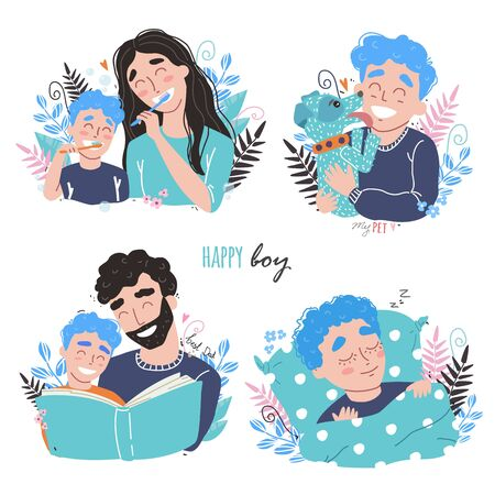 Bundle of happy loving family scenes. Mother and father educating and teaching their kid. Flat vector illustration. Happy chidhood concept.